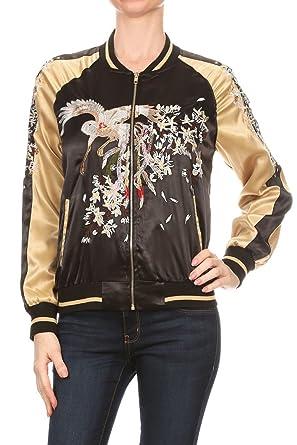 fd6689dbe2f A.S Women Reversible Lightweight Satin Bird Embroidery Bomber Jacket  (Small