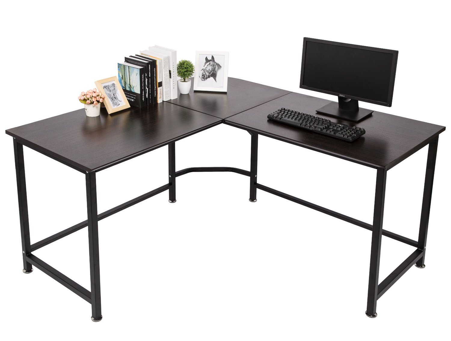 TOPSKY L-Shaped Desk Corner Computer Desk 55'' x 55'' with 24'' Deep Workstation Bevel Edge Design (Walnut+Black Leg) by TOPSKY (Image #1)