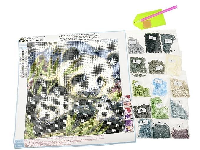 25 * 25 cm de oso panda DIY Kit de bordado de cuentas perlas mosaico ...