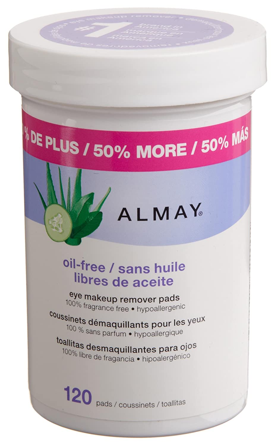 Almay Oil-free Eye Makeup Remover Pads, 120-Count (Pack of 2)