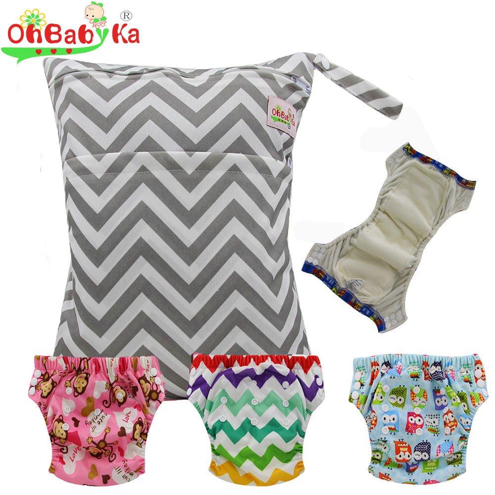 Baby Waterproof Reuseable Training Diapers Pants 3pcs, A Wet Dry Bag by Ohbabyka