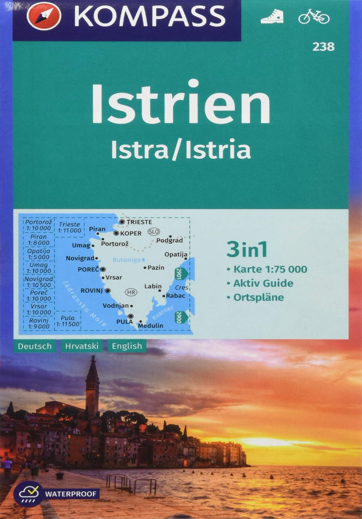 KOMPASS Wanderkarte Istrien Istra Istria  3in1 Wanderkarte 1 75000 Mit Aktiv Guide Und Ortsplänen. Fahrradfahren.  KOMPASS Wanderkarten Band 238