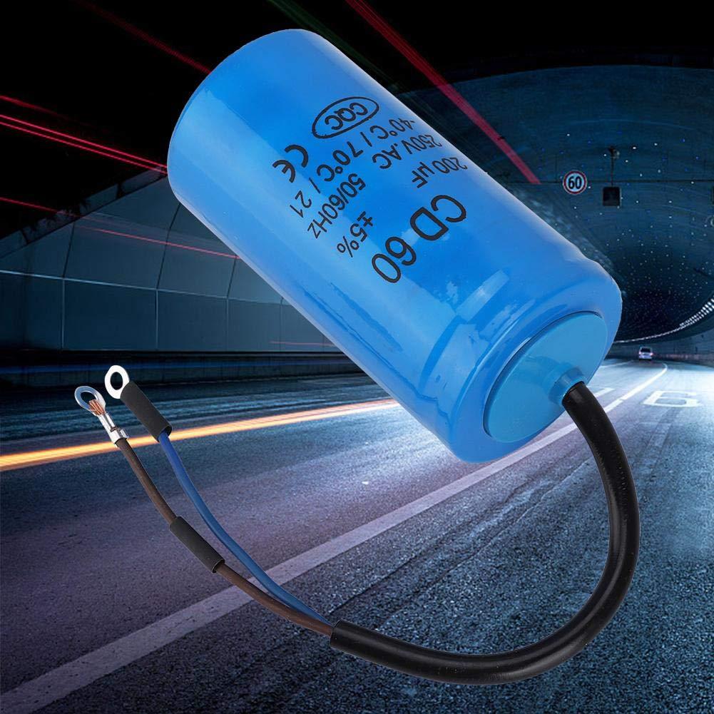 condensatore per conduttore in plastica blu condensatore motore a condensatore blu CD 250V 200uF 50 Condensatore 60Hz con cavo per compressore daria motore