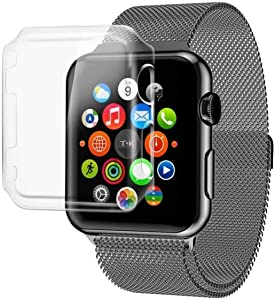 Josi Minea x3 Pcs Protective Snap-On Case with Built-in iWatch 3 & 2 Screen Protector - Shockproof & Anti-Scratch [ PC Hard Clear ] Cover Compatible with Apple Watch Series 3 & 2 [ 38mm - 3 Pack ]
