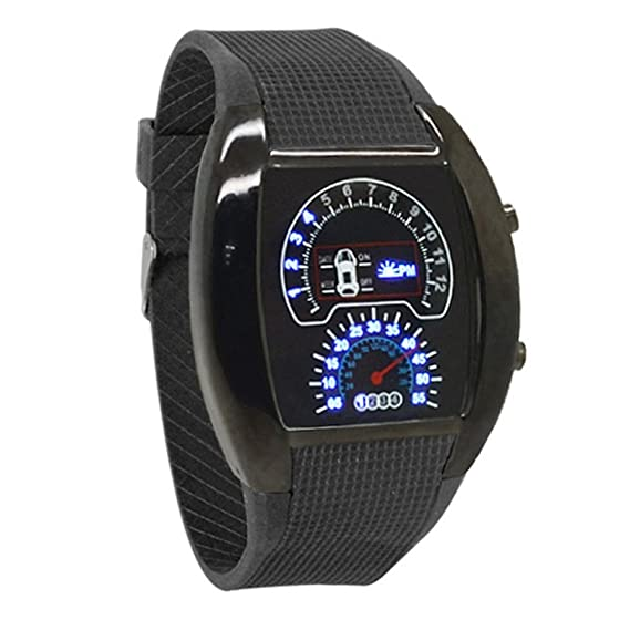 Relojes Azul Flash Led Reloj RPM Turbo Car Meter Dial Men Sport Relojes by Mieoson: Amazon.es: Relojes