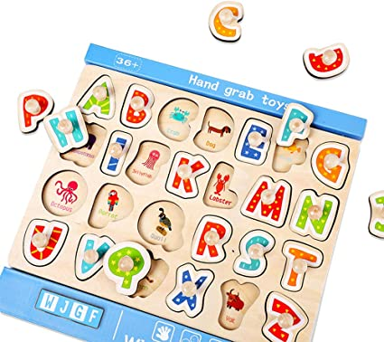 WOOD CITY ABC Letter /& Number Puzzles for Toddlers 1 2 3 Years Old Alphabet Puzzle Set 2 Pack Educational Learning Toys for Kids Gift for Boys and Girls