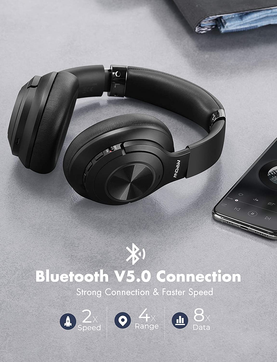 Mpow H21 Hybrid Noise Cancelling Headphones, 65H Playtime Wireless Headphones, Built-in Mic, Bluetooth 5.0, HD Stereo Sound, Wired Wireless Headset for Travel, Online Class, Home Office, TV