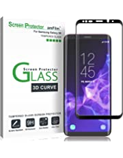 Galaxy S9 Screen Protector Glass, amFilm Full Cover (3D Curved) Tempered Glass Screen Protector with Dot Matrix for Samsung Galaxy S9 (1 Pack, Black)