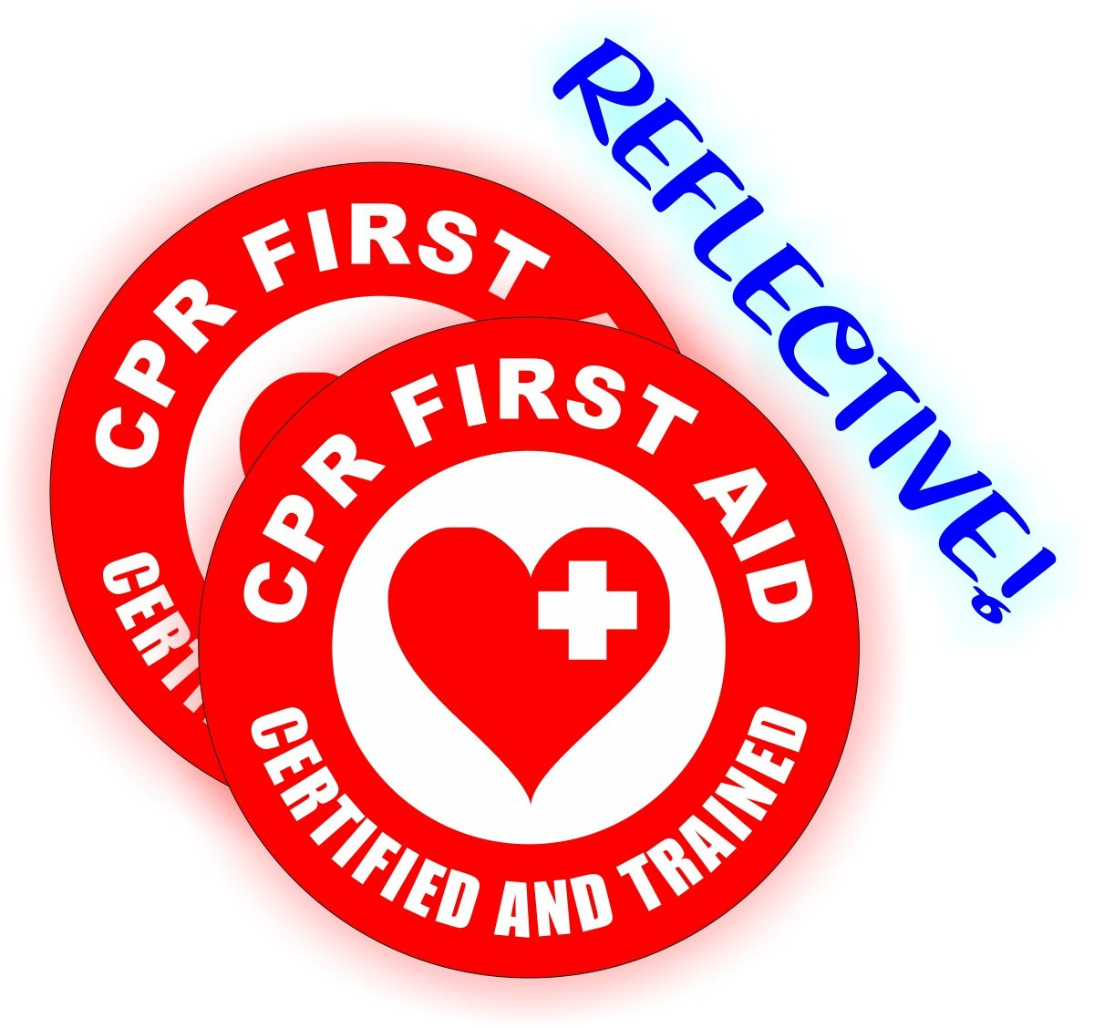 2 Reflective Cpr First Aid Certified Hard Hat Stickers Emt Aed