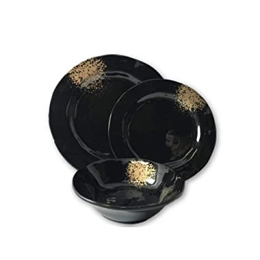Plateful 12 Piece Black Gold Ruffle Melamine Dinnerware Set, Service For 4,4 Piece 11  Dinner Plate, 4 Piece 9  Piece Salad Plate, 4 Piece 7  Bowl