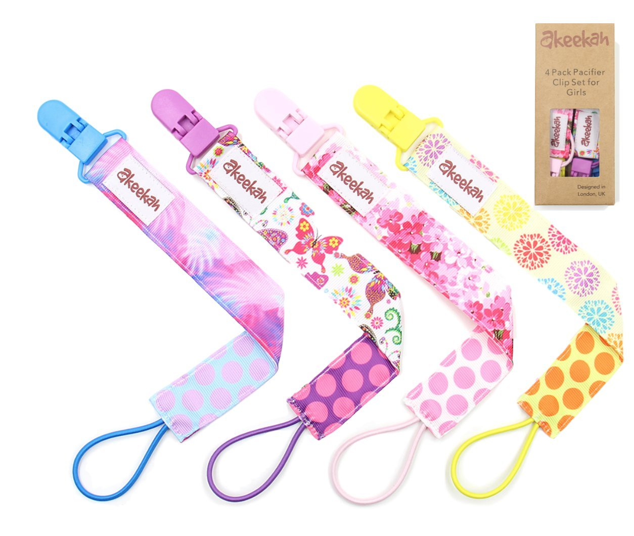 Easy Use Elastic Band Baby Dummy Clips Girls by Akeekah 4 Pack in Luxury Gift-Box Premium Baby Dummy Holder and Soother Clips with Colourful Designs Safe BPA-Free and Stylish Pacifier Clips