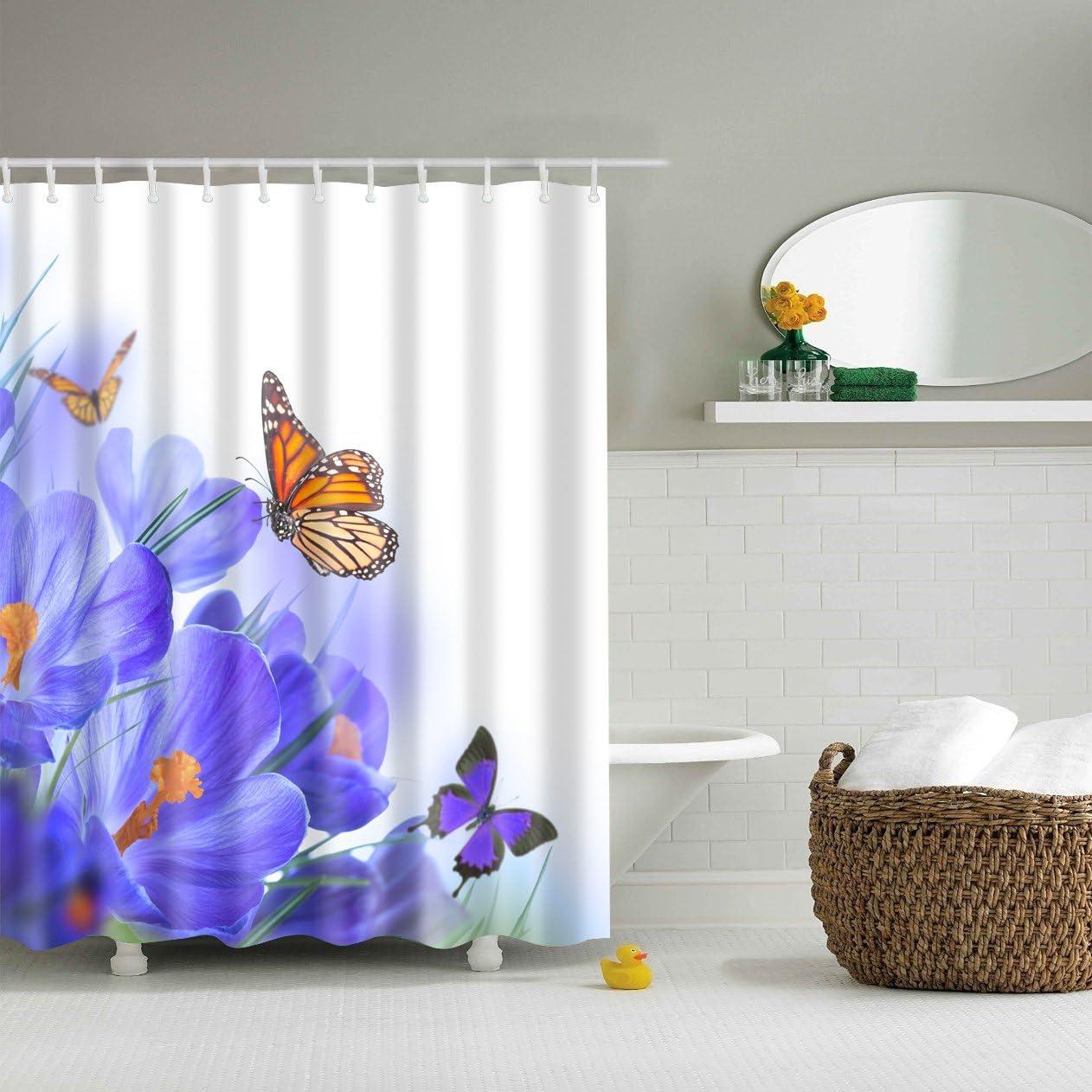 Chickwin Tende da Doccia 3D Digitale Stampato Farfalla 180x180cm,Rosa Poliestere Resistente Tessuto Lavabile Impermeabile Antimuffa Tenda della Vasca da Bagno con 12 Ganci