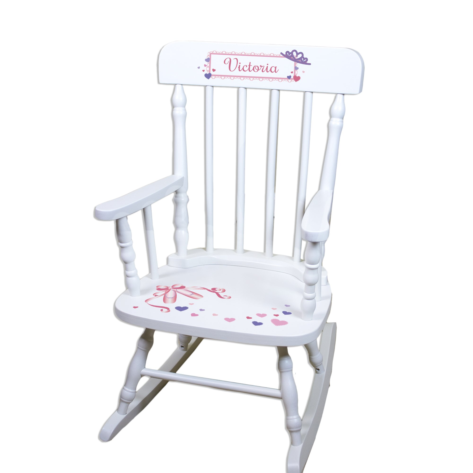 Children's Personalized White Ballet Princess Rocking Chair