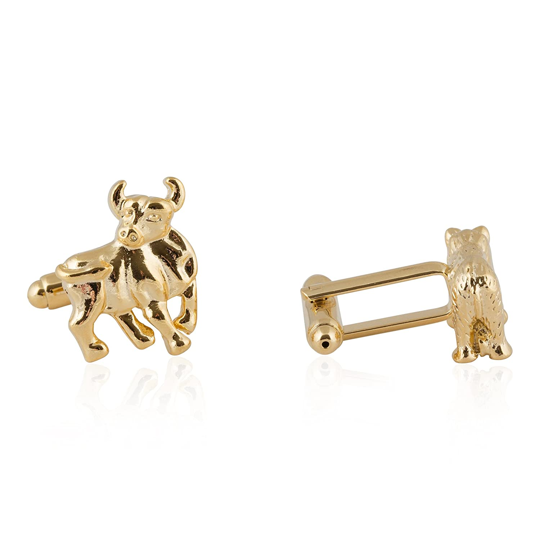 Cuff-Daddy Finance Gold Bull and Bear Stock Broker Cufflinks with Presentation Box