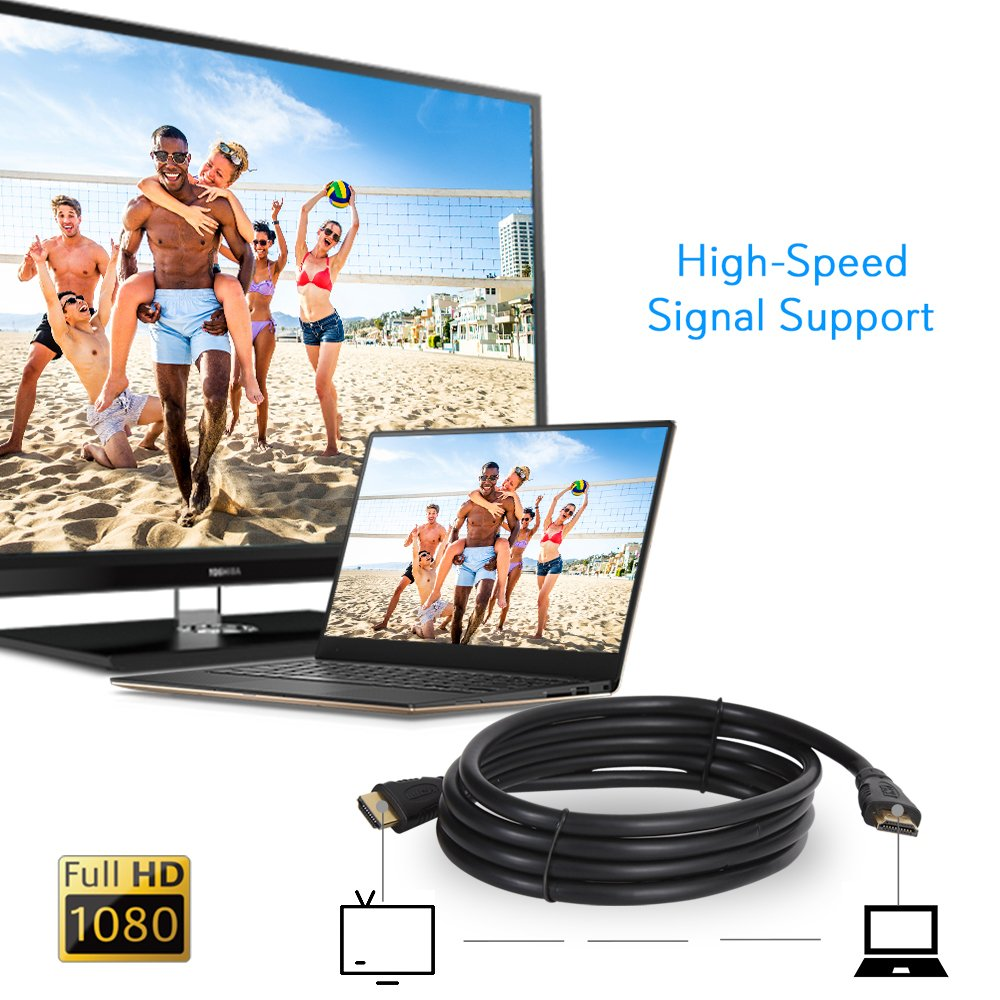 12ft' High Definition HDMI Cord - Portable Universal Gold Plated HDMI Cable Wire Adapter - TV to Player/Speaker / Computer Audio Video Connection - Supports 1080p HD 4K, 3D - Pyle GAHDMI6 (Black) by Pyle (Image #5)