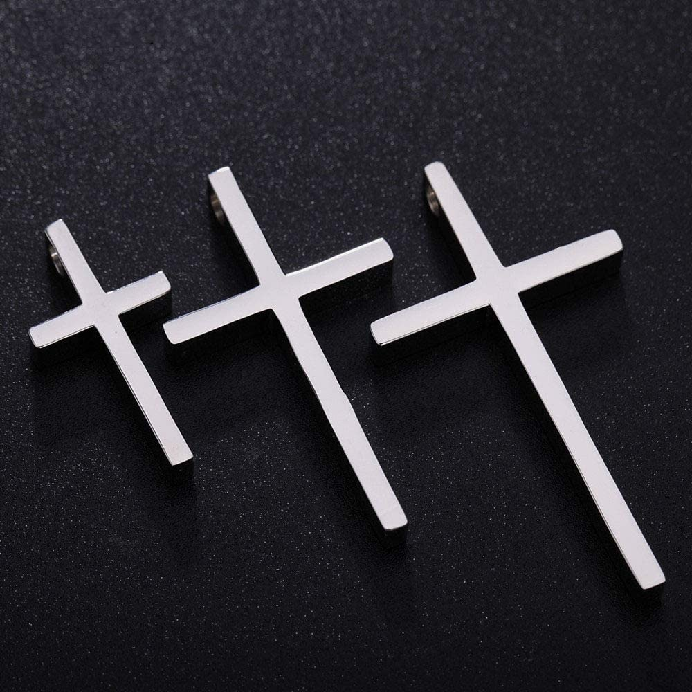 Alicejewelry Sterling Silver Stainless Steel Simple Jesus Cross Chain Pendant Necklace
