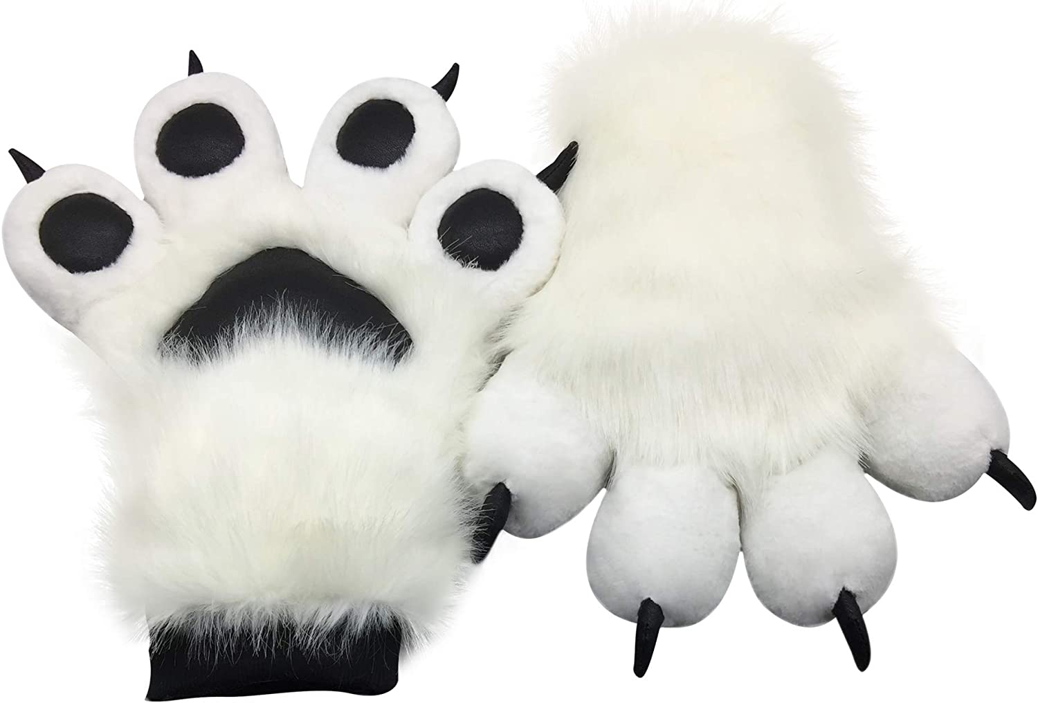Amazon Com Furryvalley Fursuit Paws Furry Partial Fluffy Gloves Costume Lion Bear Props For Kids Adults White Clothing