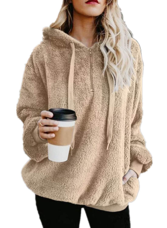 Yanekop Womens Sherpa Pullover Fuzzy Fleece Sweatshirt Oversized Hoodie with Pockets(Khaki,L)