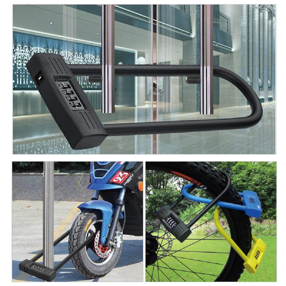 Resettable Combination U lock//D lock for Bicycles//Gate Lock mioni 4 digit U lock Motorcycle lock//Bike lock Black Secure your bike while eliminating the need to carry the key.