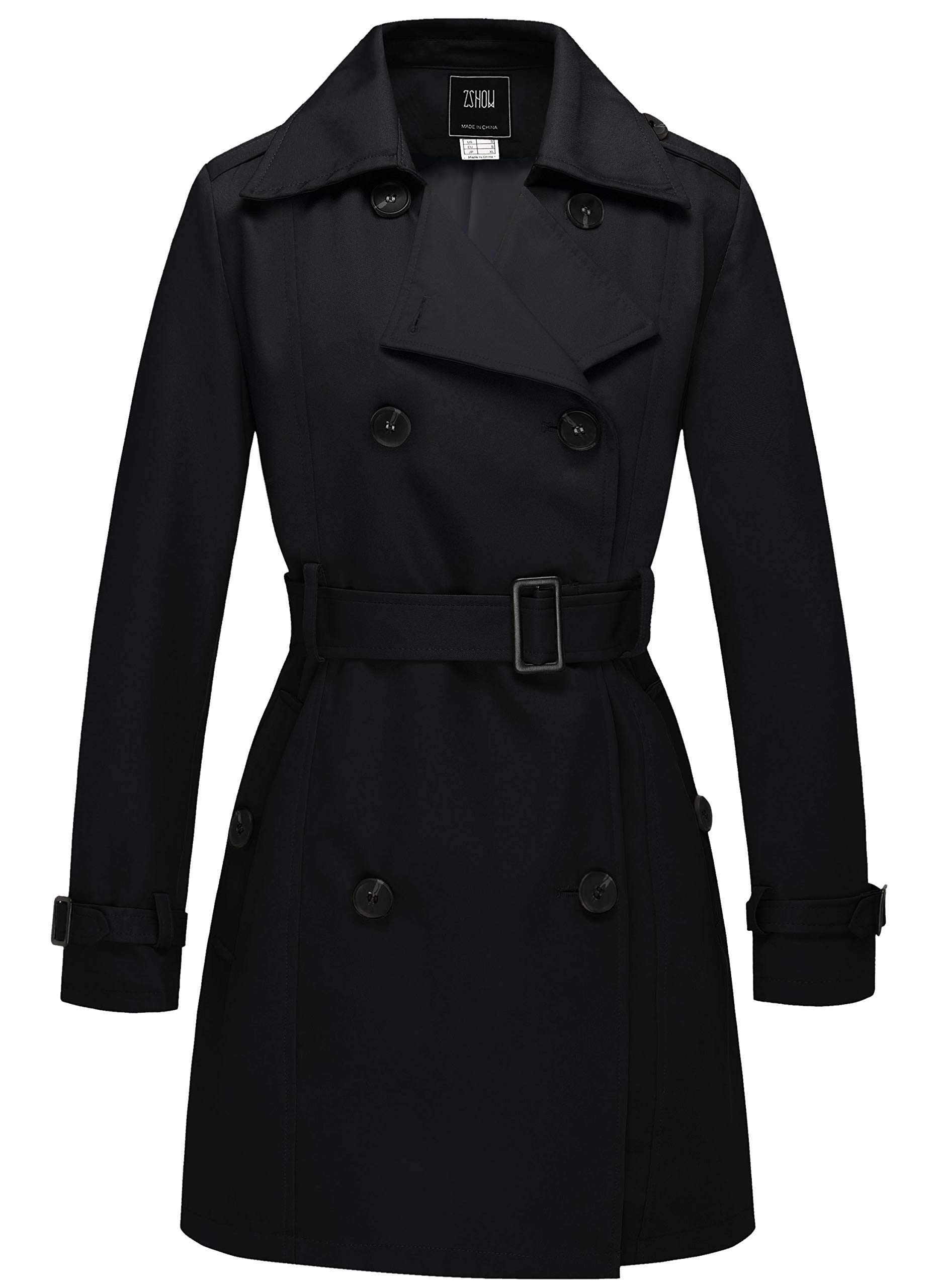 ZSHOW Women's Double Breasted Trench Coat Belted Lapel Overcoat