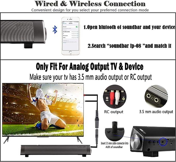 Barra de Sonido, Altavoz PC de Sonido USB, Barra de Sonido de TV, 10W 3.5mm AUX RCA Slot per schede TF, Barra Sound Bar Senza Fili Ricaricabile, Altavoz Bluetooth con Cable e