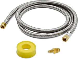 BEATURE Stainless Steel Propane Hose Assembly with Both 3/8inch Female Flare Fittings for RV, Gas Grill, Fire Pit, Heater,etc (6FEET)