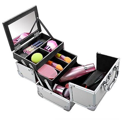 Meykey Maletín para maquillaje con Espejo 3 Niveles Estuche de Cosméticos,20 x 15,5 x 15,5 cm, Plata y Negro