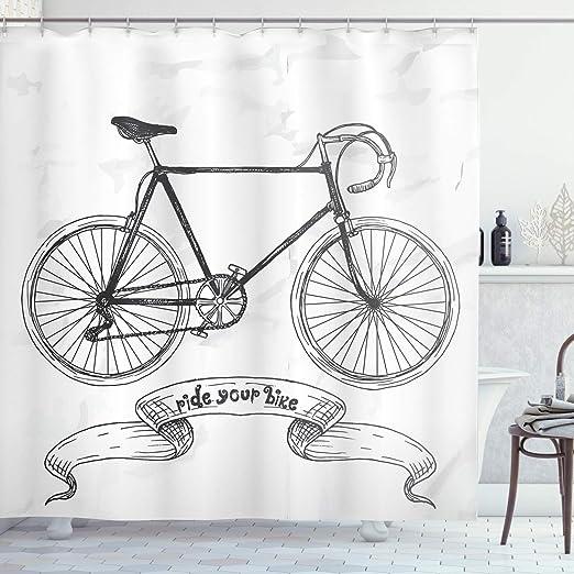 Bicicleta decoración cortina de ducha Set por Ambesonne nostálgico ...