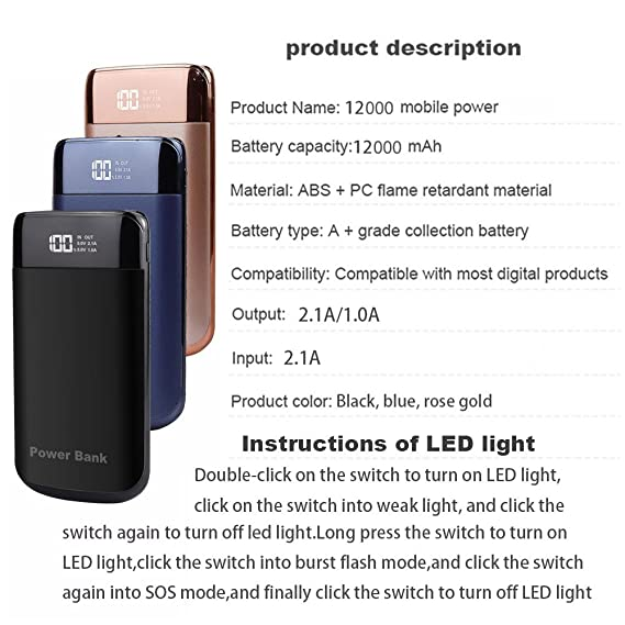 Amazon Fdgao Portable Phone Charger Power Bank 12000mah With
