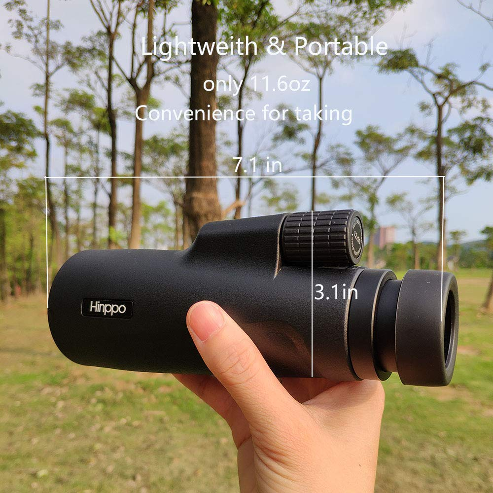Hinppo 12x50 High Powered Monocular Telescope, Single Hand Focus Monocular, Bright and Clear View with BaK4 Prism FMC Spotting Scope Bird Watching Hunting Camping Travelling for Adults by Hinppo