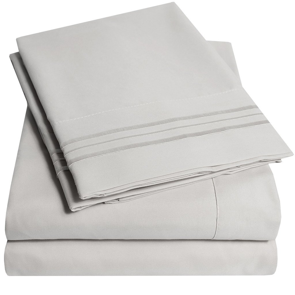 3 Piece, Twin, Silver Bed Sheet Set