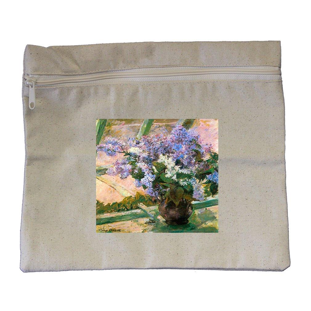 Flowers In The Window #2 (Cassatt) Canvas Zippered Pouch Makeup Bag