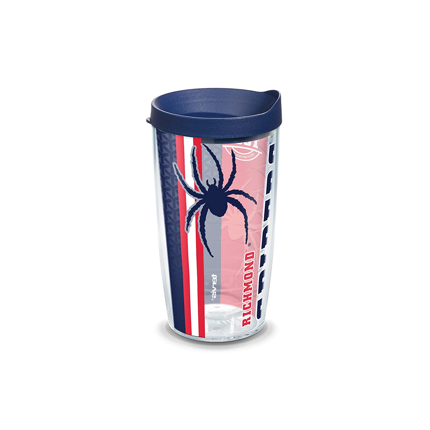 Clear Tervis 1229872 Richmond Spiders College Pride Tumbler with Wrap and Navy Lid 16oz