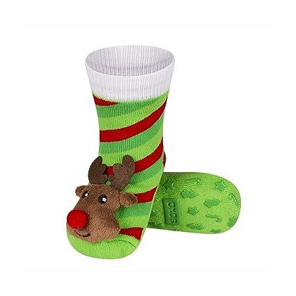 Reno Noel – Calcetines antideslizantes para bebé bebé con sonajero 3d bbkdom verde verde Talla: