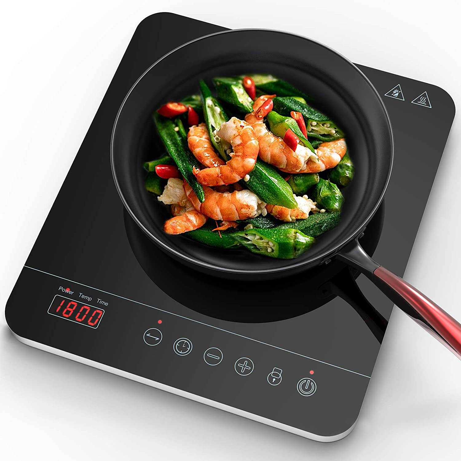 Aobosi induction Hob, Induction Cooker Portable, Ceramic Glass Plate with LED Display Electric Hob Portable, Sensor Touch Control, Timer,1800W