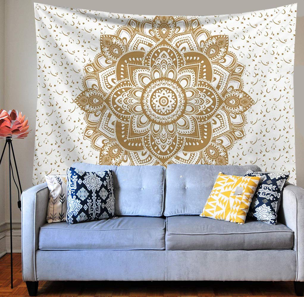 HEBE Wall Tapestry Mandala Hippie Bohemian Tapestries Wall Hanging Flower Psychedelic Tapestry Wall Hanging Indian for Living Room Bedroom Dorm Decor Large 60 H x 80 L