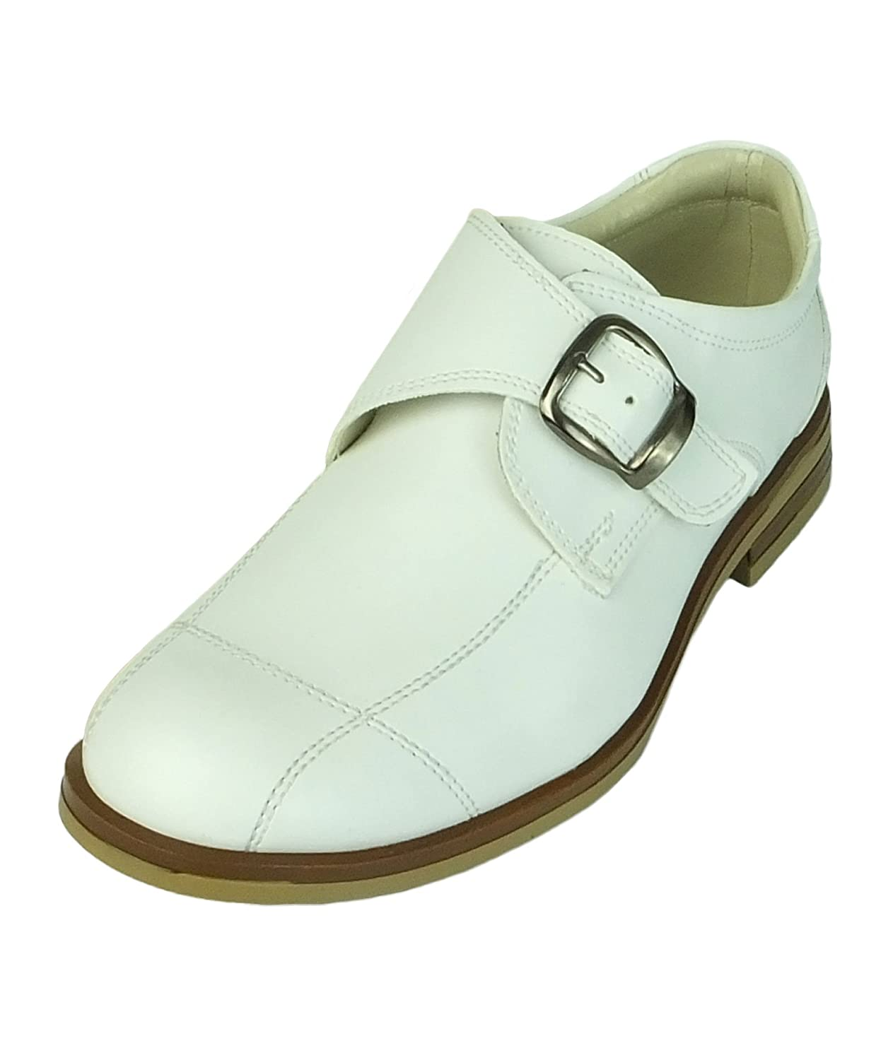 Boys Leather Buckle Fastening Monk Style White Communion Shoes - Click Image to Close