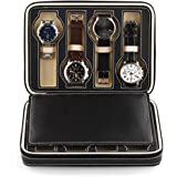 Amzdeal Watch Storage Display Box Leather Case Faux Storage Case 8 Grids
