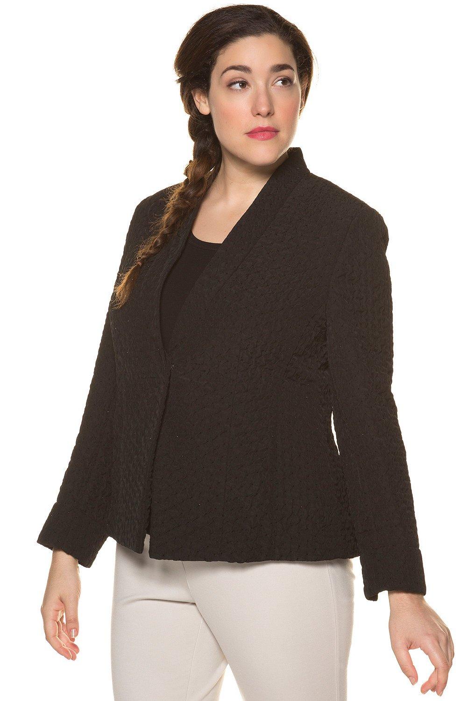 Ulla Popken Women's Plus Size Textured Slim Cut Blazer Black 14 713691 10