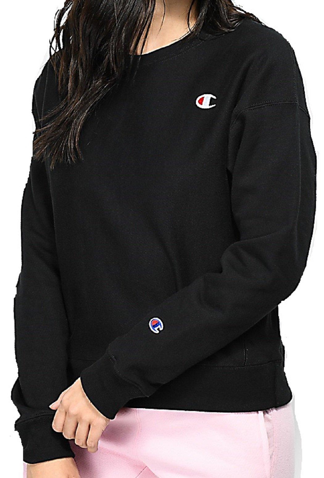 Champion Life Women's Reverse Weave Crew Sweatshirt (XL, Black)