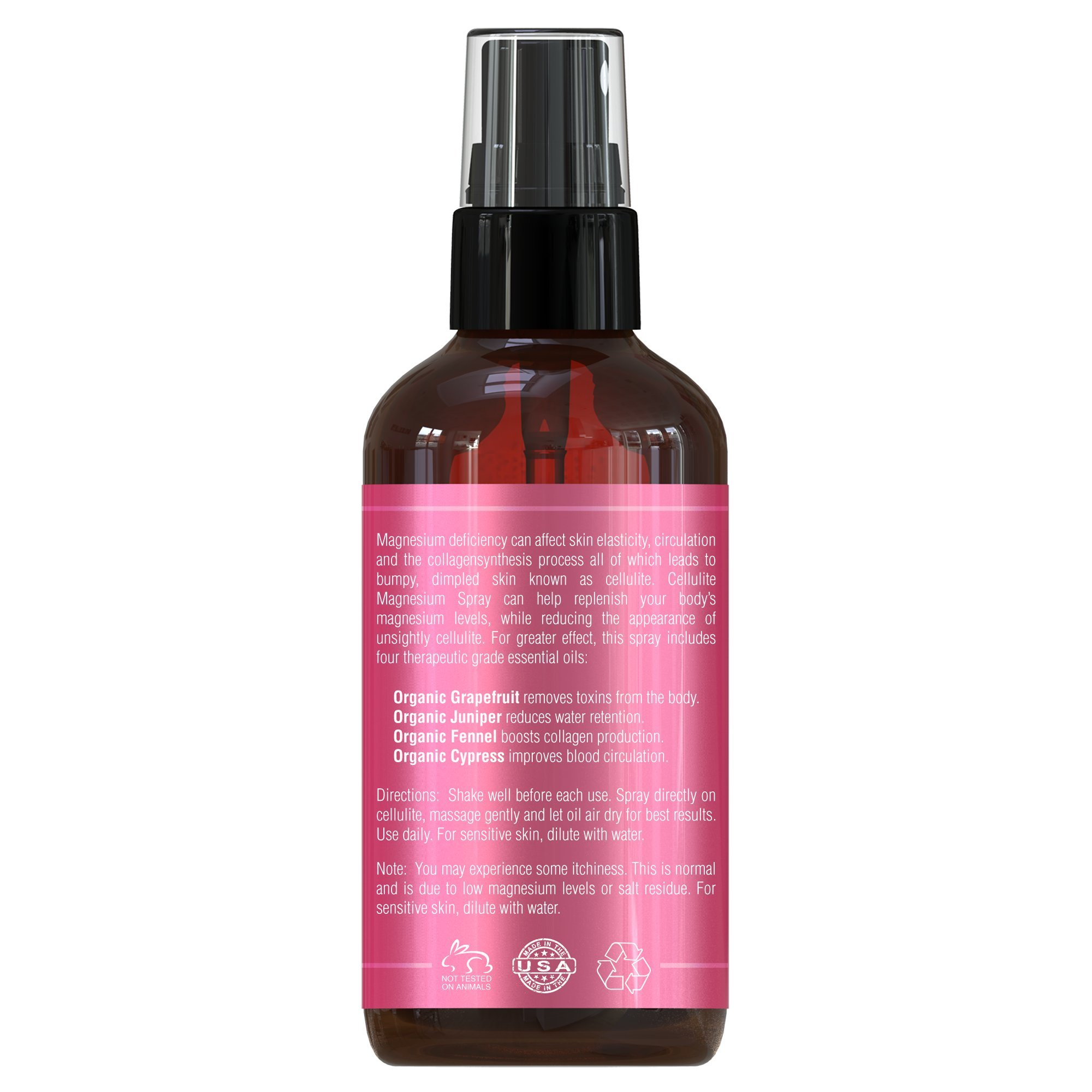 Cellulite Magnesium Spray Treatment | Made In USA - 100% Natural Essential Oils Blend | Organic Grapefruit, Juniper, Cypress & Fennel Oils | Eliminate & Remove Cellulite From Butt & Thighs by Seven Minerals (Image #4)