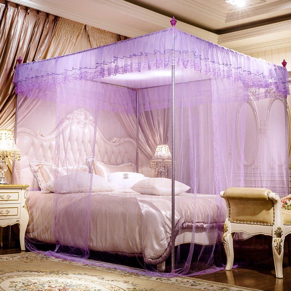 Four Corners Enhanced Tactical Mosquito Net,Moustiquaire rectangulaire Support moustiquaire /épaississement crypt/é moustiquaire pour lit Garde Insectes /& Mouches-Rose Queen1