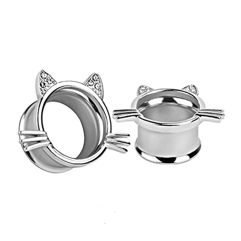 VanKula Stainless Steel Slivery Cute Kitten Ear Plugs Tunnels Gauges Piercings