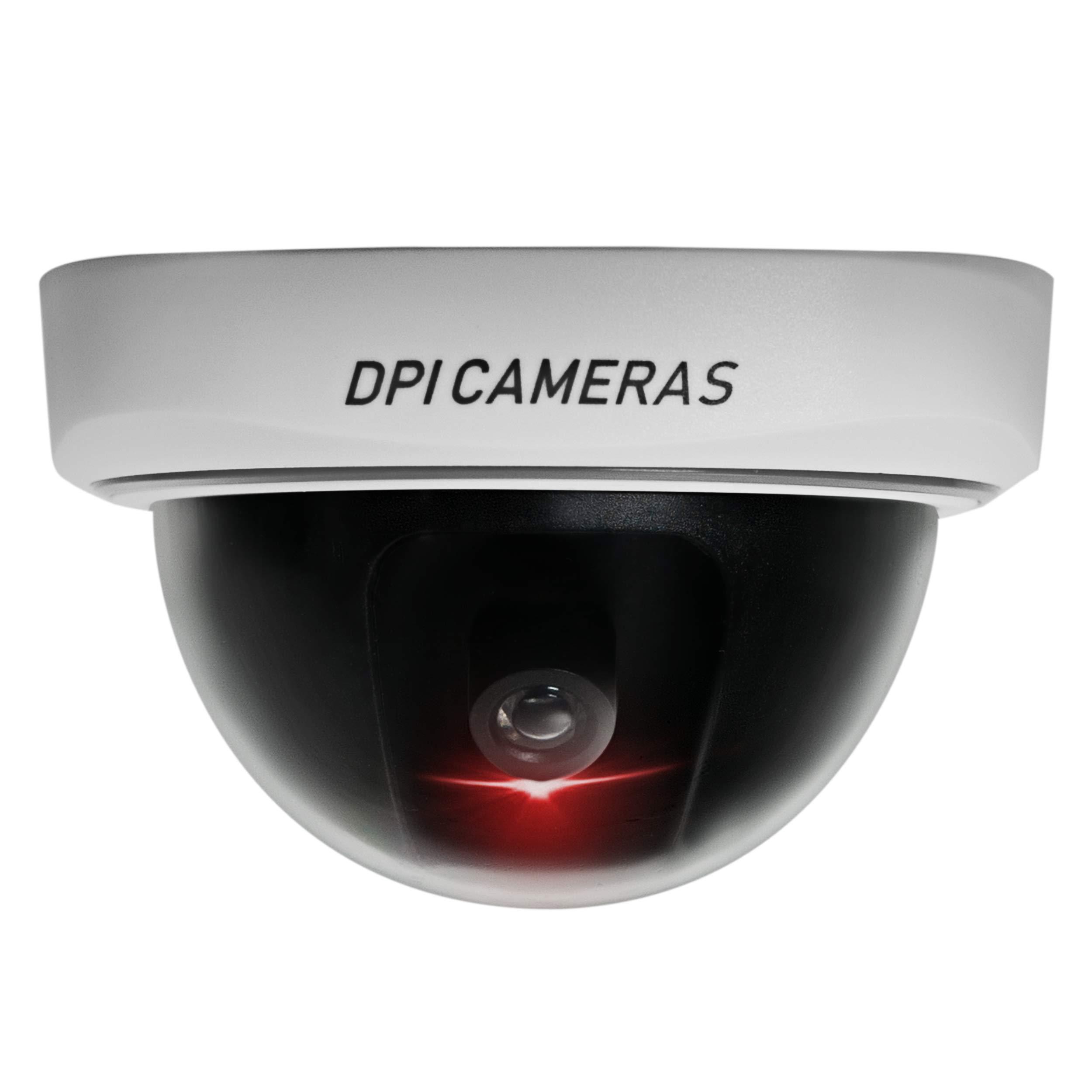 DPI Fake Security Camera 4 Pack Authentic Look Dummy Fake Camera Security Dummy Fake Surveillance Dummy Fake Security Cameras CCTV Dome Camera Recording Flashing Warning Red led Light Black White