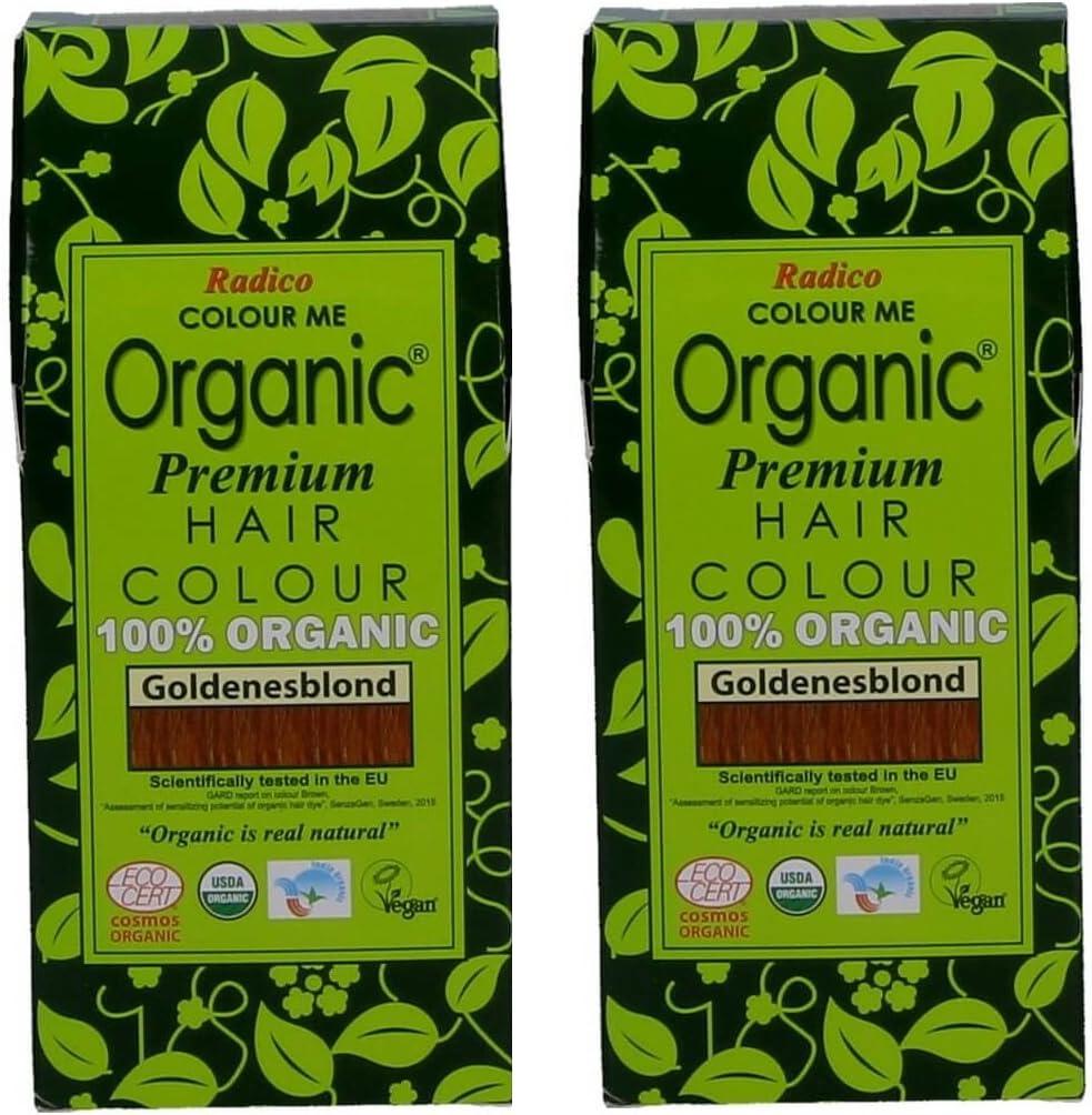 Radico Golden Blond Colour Me Organic - Tinte para el cabello (orgánico, vegano, cosmética natural), color dorado
