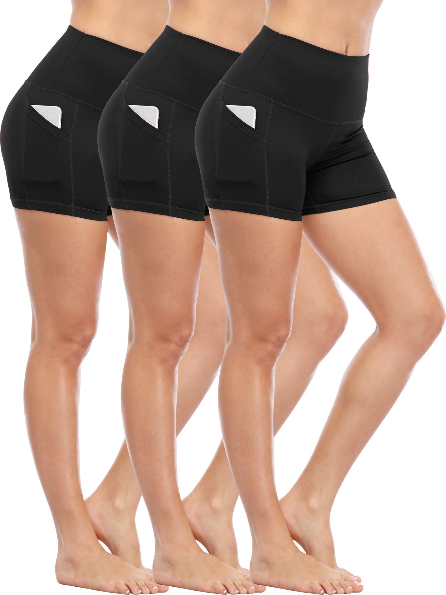 Cadmus Women's Tummy Control Workout Running Short Out Pocket,3 Pack,1016,Black & Black & Black,Large by Cadmus