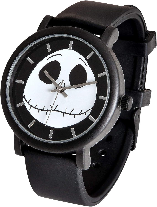 Nightmare Before Christmas Pesadilla Antes de Navidad Reloj de Pulsera Jack Skellington Skull analógico Negro: Amazon.es: Relojes