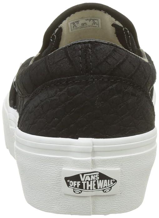 Vans Damen Classic Slip-on Platform Leather Sneaker, Mehrfarbig (Embossed/Black/Blanc De Blanc), 43 EU