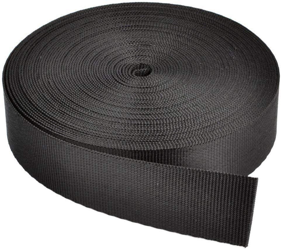 RETON 15mm Wide 10 Yards Black Nylon Heavy Polypro Webbing Strap