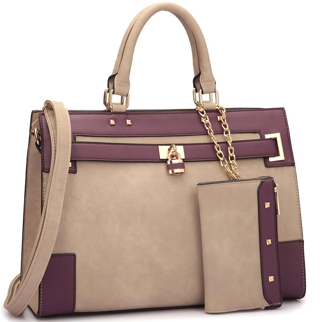 34ba69fedf Details about Women s Two Tone Fashion Handbag For Women Top Handle Satchel  Bag Padlock Design